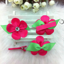 Kids Hair Clip Shocking Pink Flower With Line Clip