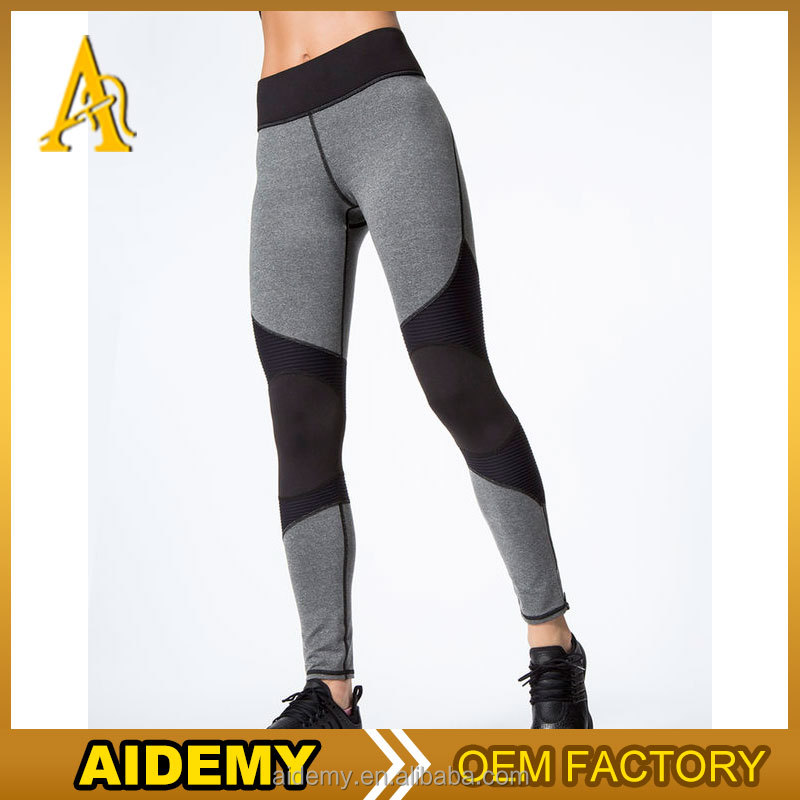 OEM moto zip mesh insert fitness leggings wholesale sport leggings women's gym wear