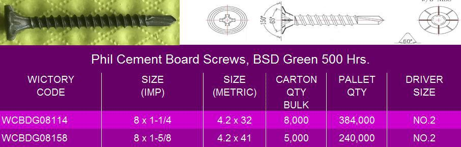 Cement Board Brand Names : Cement board screws with phil wafer head hi lo thread