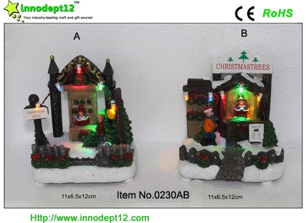 Christmas decoration resin figurines, light up table pieces shop with led,battery operated