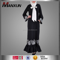 2016 Ruffle Bow Abaya Hand Embroidered Beautiful Evening Muslim Dress Islamic Clothing
