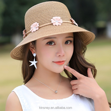 KS20312A Summer hot sale new design beach straw hat with bowknot and flower