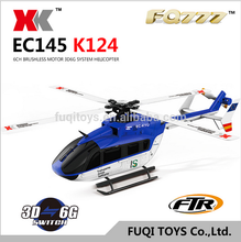 latest XK K124 6CH Brushless EC145 3D6G System RC Helicopter with high quality