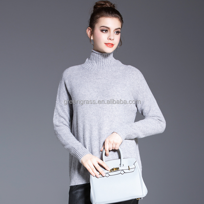 Lady's popped collar cashmere sweater knitted sweater