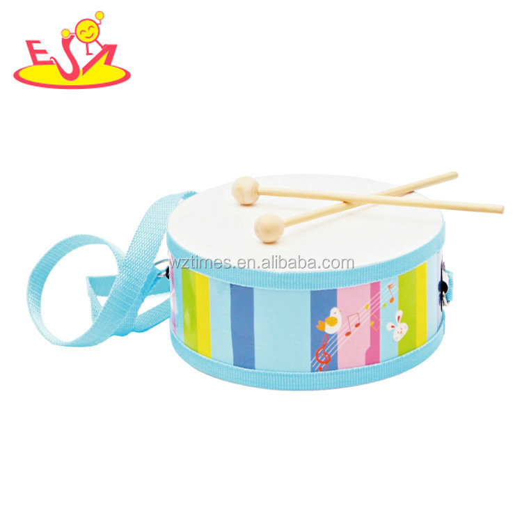 Promotional lovely kids wooden mini toy drum set with 2 sticks W07J040