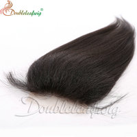 7A Peruvian Kinky Straight Free Middle 3 Part Virgin Human Hair Lace Closure