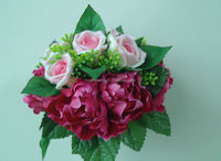Silk roses and peony posy,fabric bouquet
