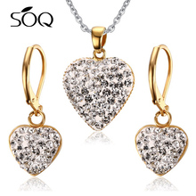 Stainless Steel Heart Exquisite Crystal Gold Mangalsutra Designs Image Womens Necklace Pendant Earring Set