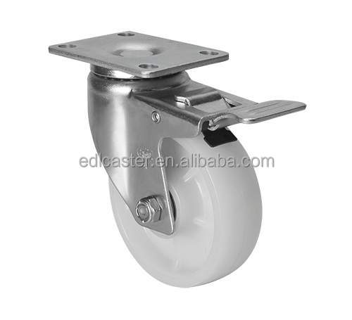 "EDL Medium Duty 4"" 150Kg PA/Nylon Roller Castors Wheel Cart Plate Universal Iron Dual Brake Industrial Caster Wheels for trolley"