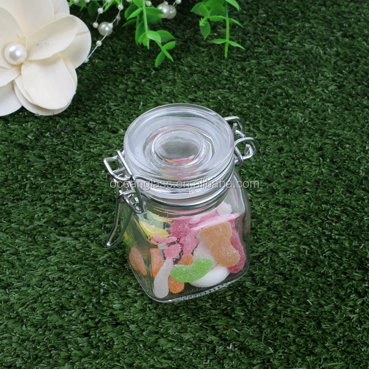 Mini square glass storage jar spice salt sauce bottle with metal clip lid and silicon ring