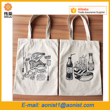 wholesale handbag promotional cotton blank canvas fabric shopping tote bags