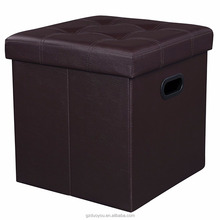 Faux Leather Folding Storage Ottoman and Stool Cube With Hole Handle