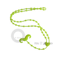 flashing christmas light necklace,baby chewing silicone rubber necklace