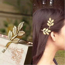 Wholesale retro Sen women 's gold leaf leaves hairpin folder <strong>hair</strong> <strong>accessories</strong>