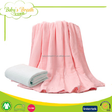 PB-14 Air Conditioner Soft Baby Blanket Organic Cotton Dobby Woven Waffle Blanket
