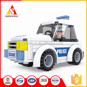 diy plastic toy police set car modle block game for the boy