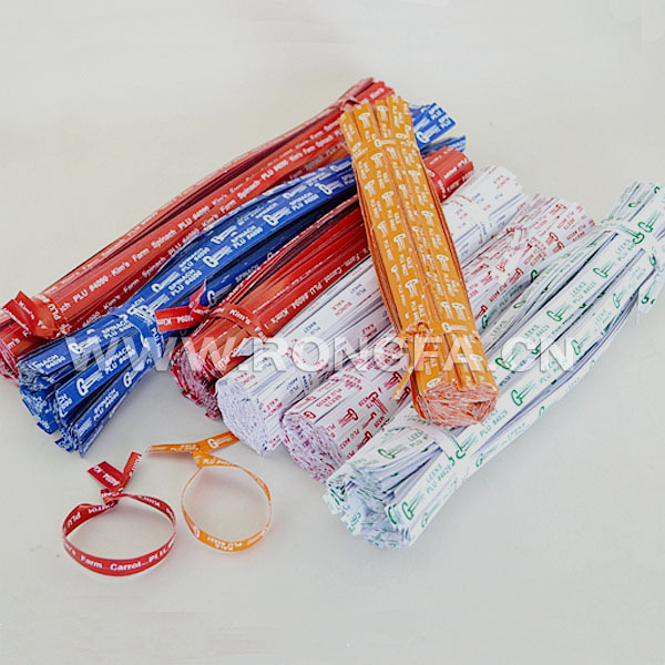 paper or plastic logo printed vegetable twist ties