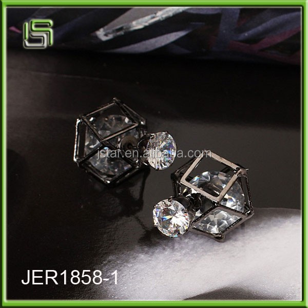 Geometric hollow crystal earrings women double sided zircon earrings