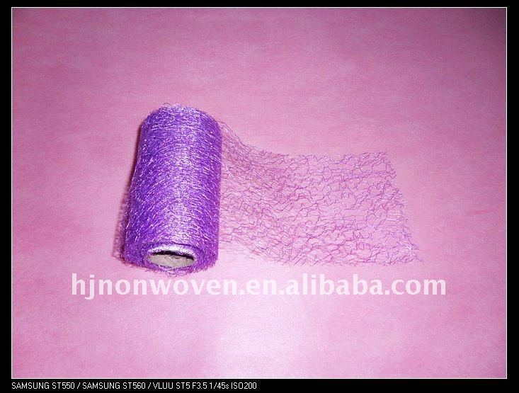 Purple webbed wedding decoration mesh chair sash 11cm*10m
