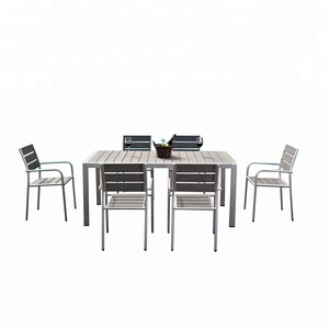 Composite wood grey aluminum brushed patio furniture poly wood table and 6 chairs for home garde