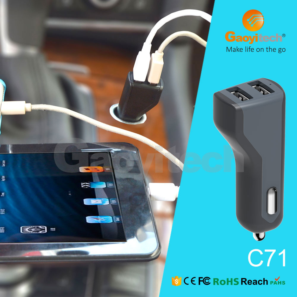 Wholesale Colorful Dual Usb Car Charger For Iphone cell phone Mini Universal Usb Car Charger