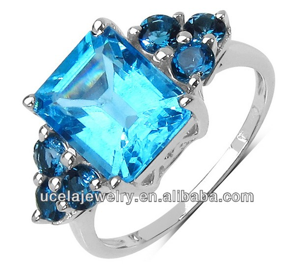 925 Sterling Silver Blue Topaz Ring bali silver poison ring