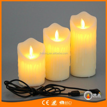 cheap decorative candle moving flameless USB charger led candles