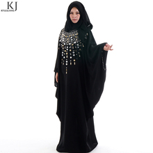 KJ new design fashion butterfly plus size islamic beaded wholesale black abaya burqa fashion design dubai moroccan kaftan dress