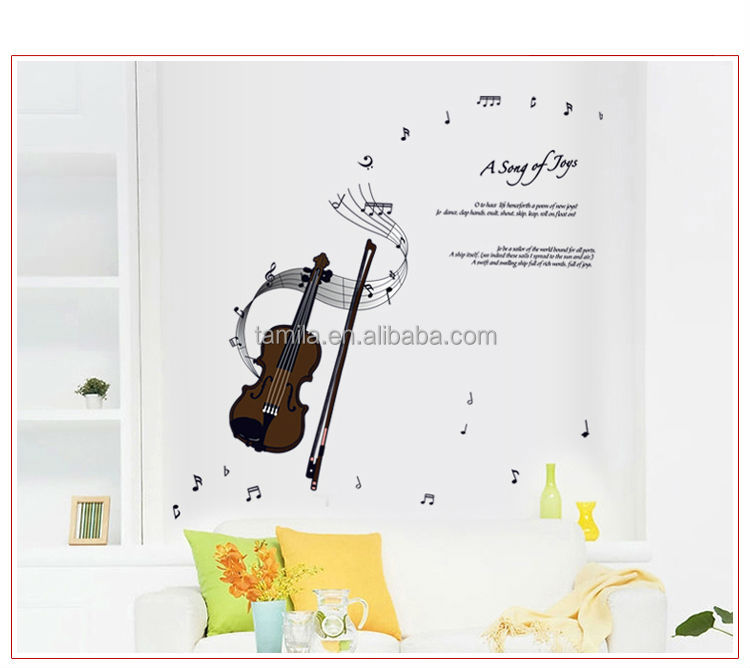 Music Instrument Violin Removable CMYK printed PVC Wall Sticker