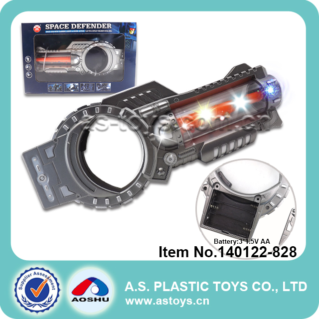 Super toy space gun with flashing light and sound action