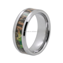 Nice green leaves tree camo inlay tungsten ring tungsten wedding rings for men and women