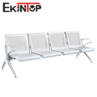 Metal chrome armrest high quality stainless steel airport public 4 seater waiting chair