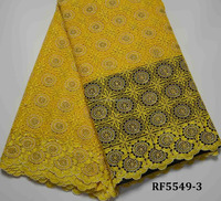 RF5549-3 Royal Hot sale yellow embroidery guipure lace fabric for wedding dresses factory