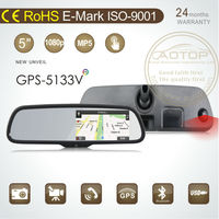 rear view miror gps dvr system with capacitive screen,multi language,bluetooth support sygic/tomtom/navitel gps map