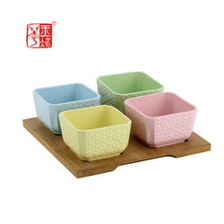 Table food serving set , small square ceramic bowl with wooden tray for nuts