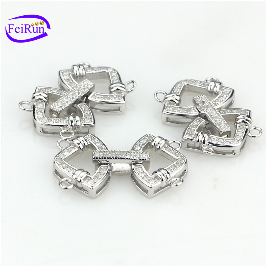 FEIRUN 2rows women made fashion clasp, hook and eye clasp, sterling silver clasp