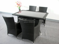5 Piece Outdoor Patio Dining Set with Cushions - UV Weather Resistant Rattan Wicker Heavy Duty Steel Powder Coated Furniture