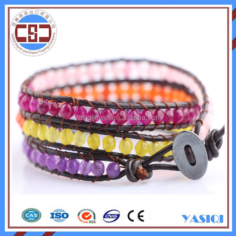 personlized woven leather malay jade bead wrap bracelet