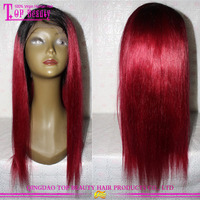 Top Quality 20Inch #1b/burg Virgin Indian Remy Full Lace Human Hair Wig For Asian Women