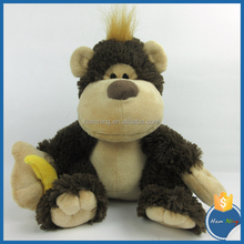 25cm Sitting plush toy monkey with blue soft banana