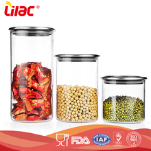 wholesale 300ml 500ml 700ml Heat resistant borosilicate Food-safe airtight kitchen storage food glass canister