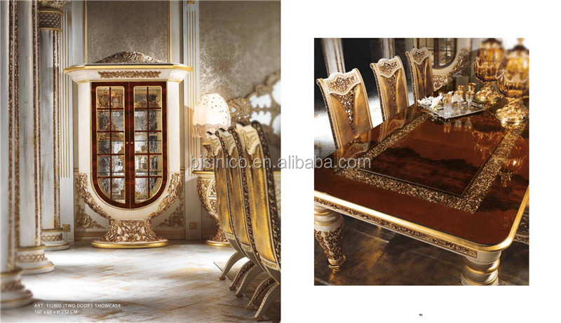 Italy Baroque Palace Style Dining Room Set, Gorgeous Solid Wood Carving Marquetry Inlay Dining Room Furniture Set
