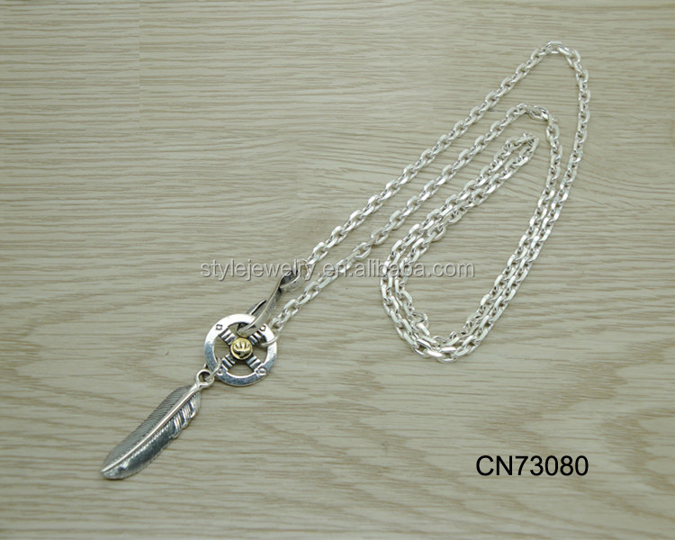 CN73080 Best Hot Sell Designer Feather Necklace Simple Long silver Gold Chain Collar Necklace