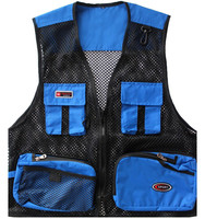 Closeout Blue DirectorJournalist Mens Outdoor Mesh Fly Fishing Ballistic Police Men Work Pockets Fishing Life Vest