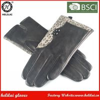 Women's Leopard Printed Suede Trimmed Button Black Sheep Leather Gloves with Wool Lining for Ladies