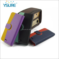 Hot wholesales , yellow+purple multi color leather case for iphone 6,unique design with mirror and card slots