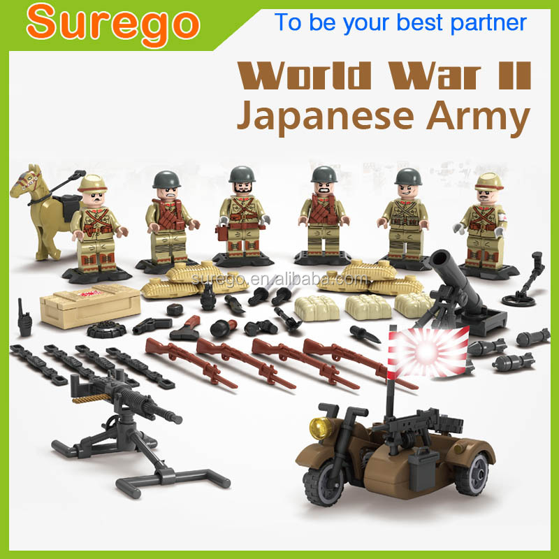 Kitoz WW2 Sino-Japanese War Japanese Army Mini Soldier Doll Weapons TaiErZhuang Military Building Blocks Toy Gift for Boy