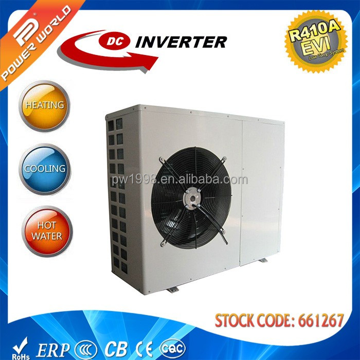 2017 newest dc inverter monoblock air source heat pump hybrid r410a