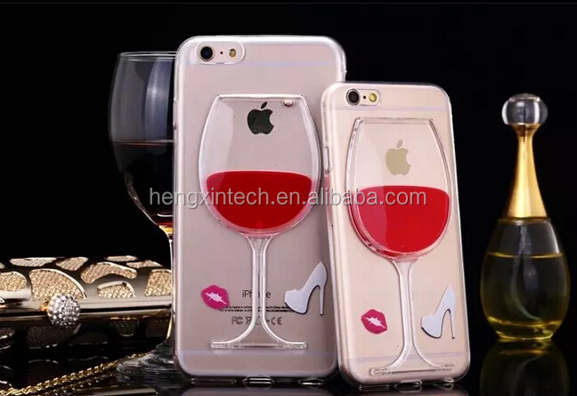 Luxury Red Wine Cup Liquid Transparent TPU Case For iPhone5/6/6plus Models Phone Cases Back Cover
