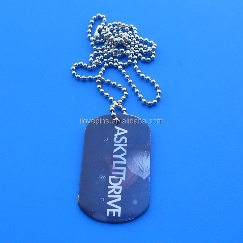 RISE Print Men Dog Tag Necklace With Ball Chain
